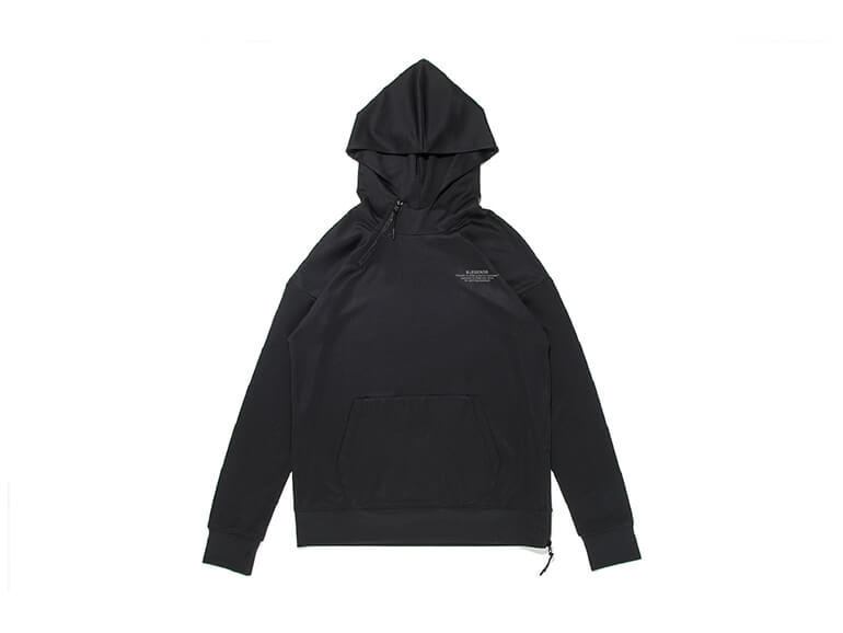 DOUBLE KNIT LETTERED ONE POINT HALF ZIP HOODIE